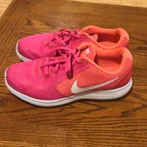 Nike Revolution 3 Pink & Orange Sneakers Size 8